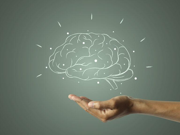 Getekende hersenen met knooppunten en stralen die oplichten; hand vangt hersenen op. Symbool voor de impulsstoornis van een shopverslaving.
