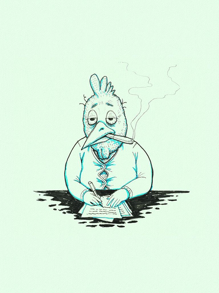 Vermoeide haan achter bureau die nota's neemt. Ogen vallen toe, sigaar in de mond. Beeld van een workaholic die alle passie tot werken verloren heeft.